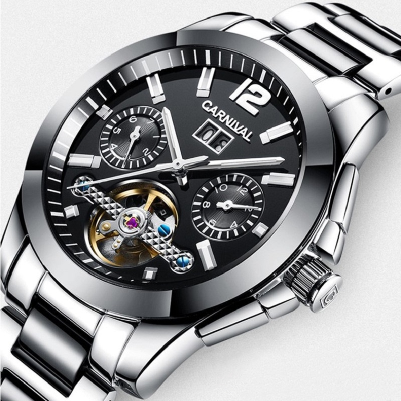 Carnival New Fashion Automatic Watches Top brand Luxury Tourbillon Mechanical Watches Men Month Week Date Luminous Male Clock carnival men watch top brand luxury automatic male clock calfskin band day and date display black lens mechanical watches hot sa