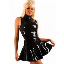 S-XXL Top Quality 2017 Gothic Fetish Women Black Sexy Sleeveless Zipper PVC Leather Latex Dress Clubwear Pole Dance Costume