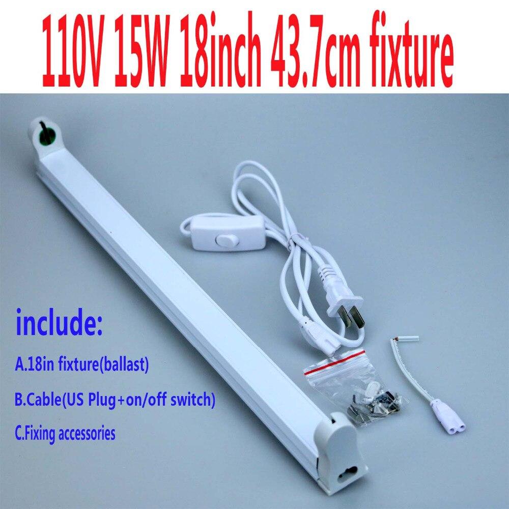 1x прямой трубки дневного света светильник с балластом 15 Вт 18 дюймов bi-pin держатель лампы идея для рептилий UVC UVB UVA Base