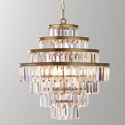 Vintage Glass Crystal Chandelier Light Fixture Black Cottage American Suspension Lamp Hanging Light For Dining Room