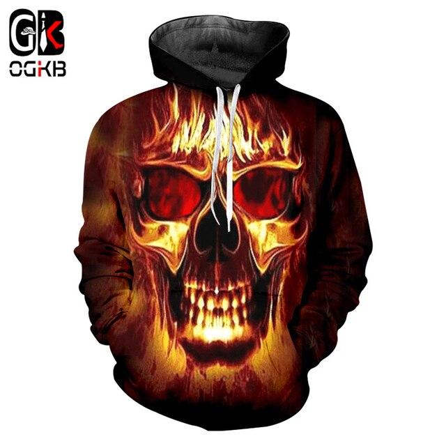 Ogkb Pria Wanita 3D Hoodie Flame Tengkorak Dicetak Keren Sweatshirts dengan  Topi 2018 Musim Gugur 7967953e21
