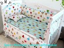 Promotion! 6pcs Baby Bedding Set Cotton Curtain Crib Bumper Baby Cot Sets Baby Bed Bumper,(bumpers+sheet+pillow cover)