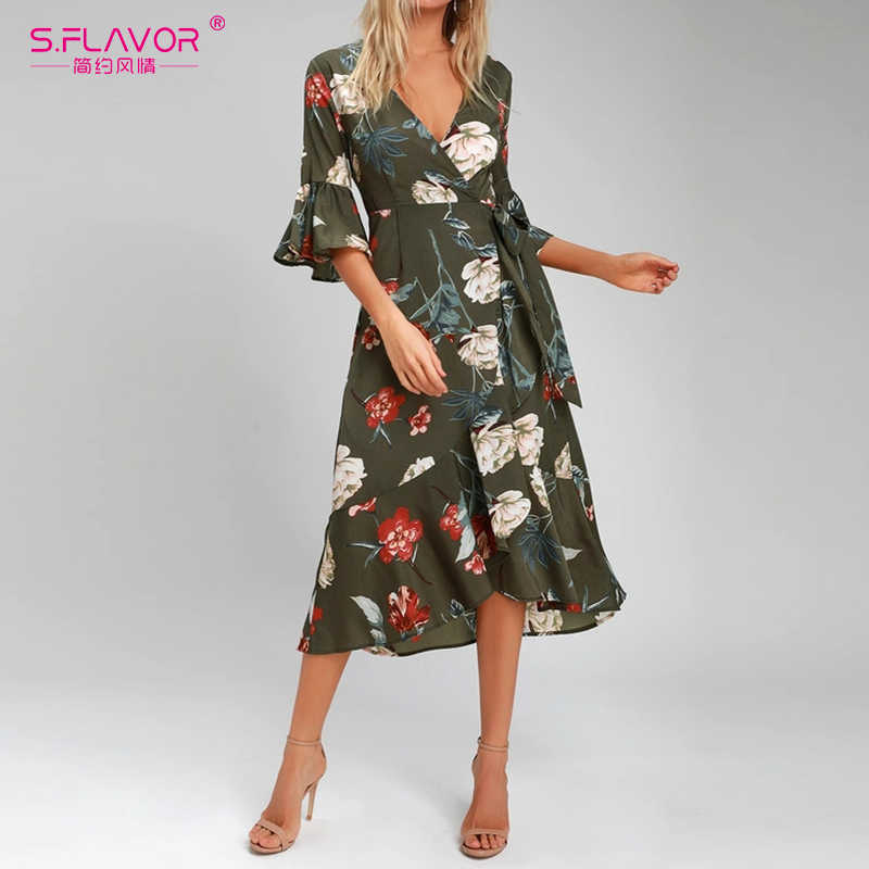 S.FLAVOR Autumn Floral Print Dress Women New Casual Sexy V neck Knee Length Dress Female Elegant Bohemian Beach Party Vestidos