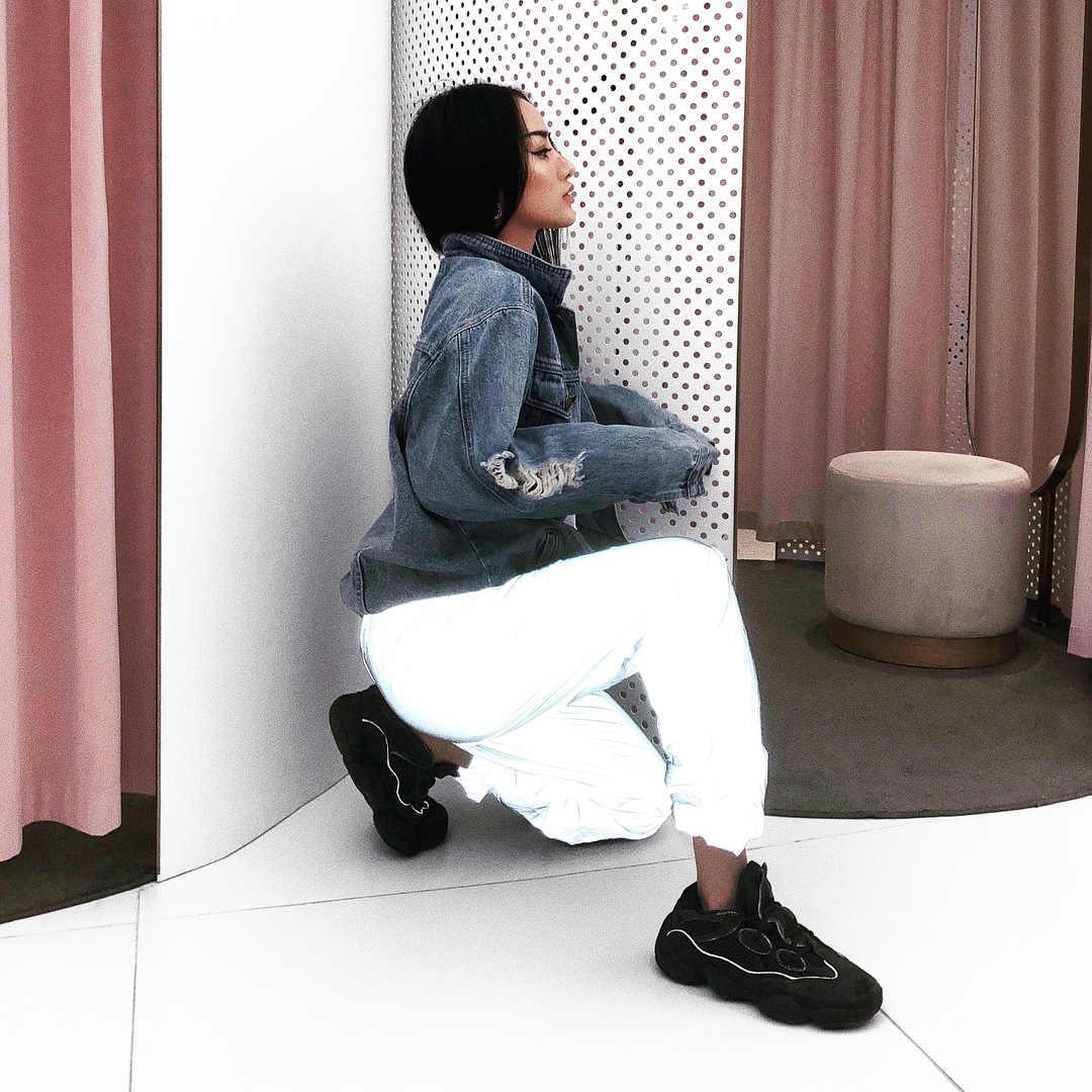 ฤดูใบไม้ร่วงใหม่ Night สะท้อนแสง Cargo กางเกงผู้หญิงสีทึบกางเกงหลวมๆ Streetwear Joggers Hip Hop กางเกงชุด