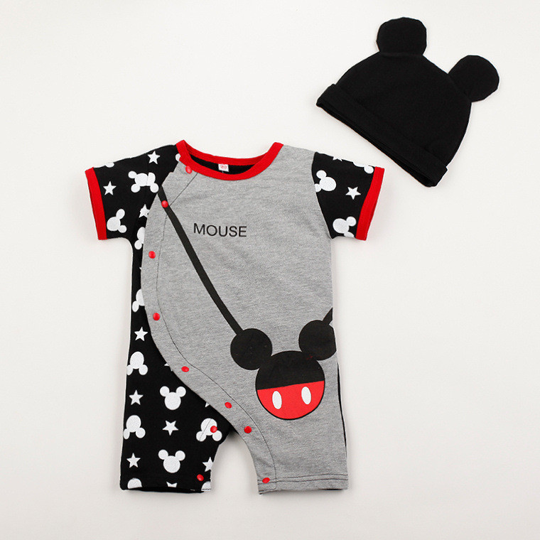 With Hat Baby sets Hot Sale Cartoon Baby Romper Jumpsuits Cotton Short Sleeve Character Clothings Baby Romper sets For 0-2T