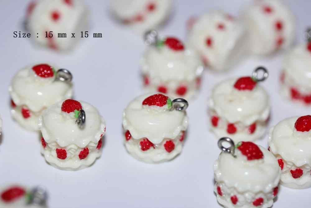 Resin Makanan Kue Roti Permen Es Krim Lolipop Cabochon Lendir Hiasan Hiasan Liontin untuk Wanita Gadis Diy Kalung Perhiasan