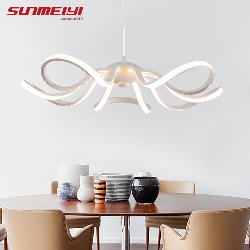 Moderna lámpara LED Simple flor colgante luces para sala de estar Cristal Lustre luces colgantes colgante accesorios de techo
