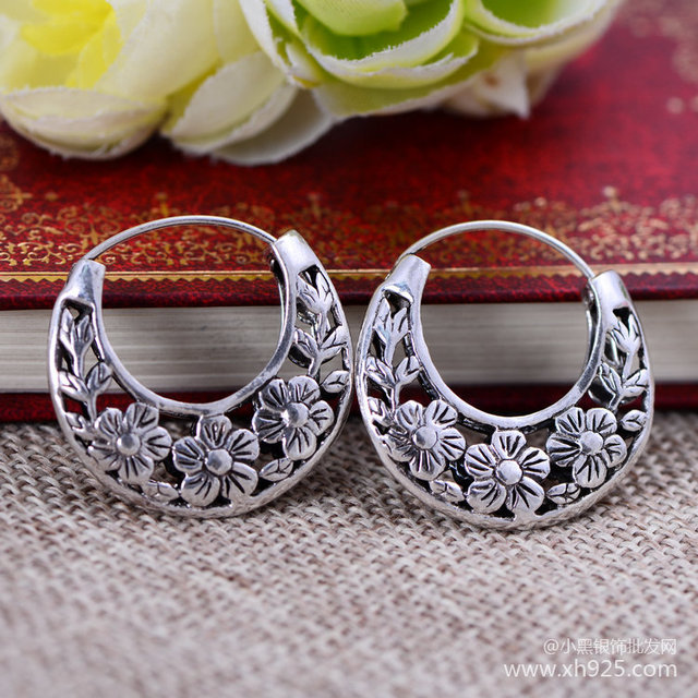 Black silver jewelry wholesale 925 sterling silver jewelry fashion plum hollow ear clip xh048435 atmosphere