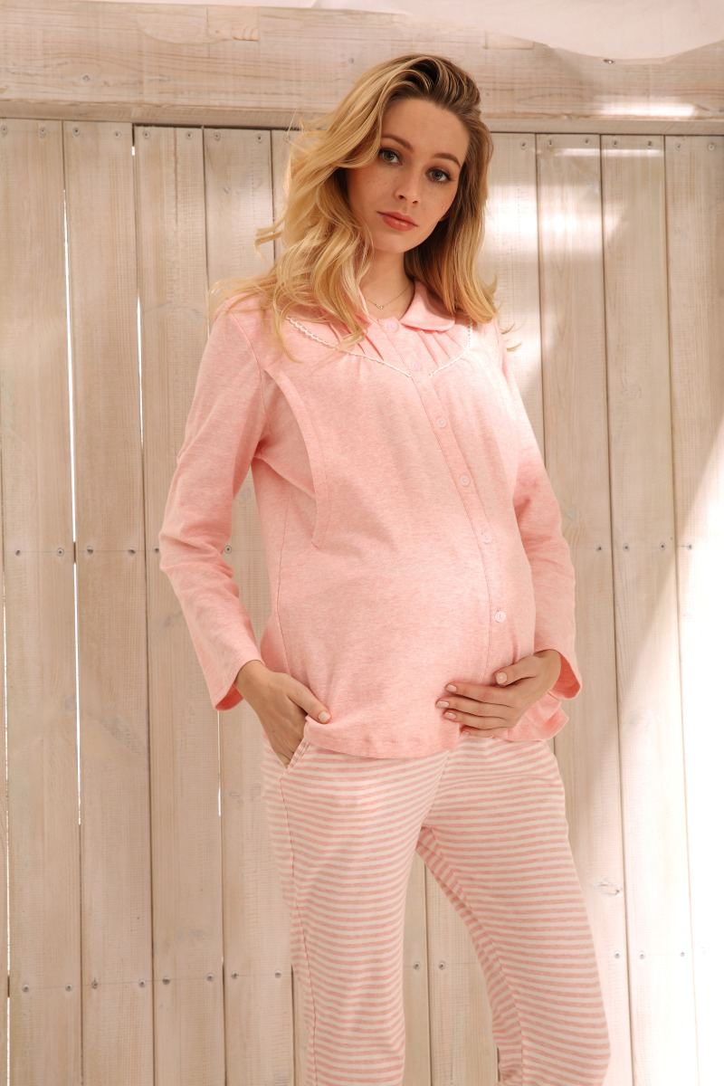 Sally Nice Maternity Pregnancy Clothes Sleepwear Breastfeeding Pink Gray Nursing Pajamas Pregnant Women Comfy Loose Thin Cotton