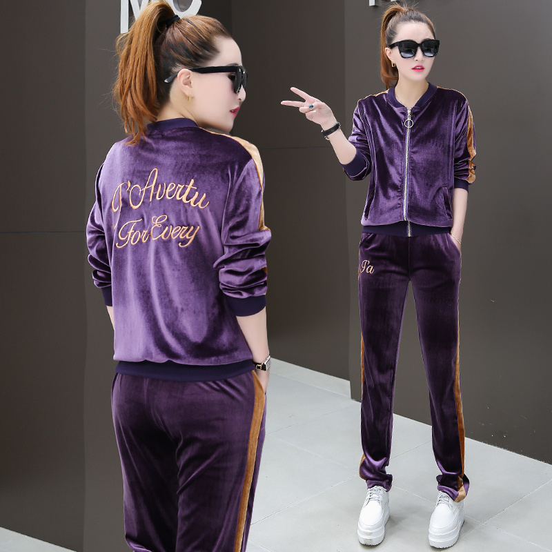 Leisure Velvet Two Piece Outfits for Women Zipper Tops and Sweat Pants Tracksuit Set Female Sportwear M-3XL