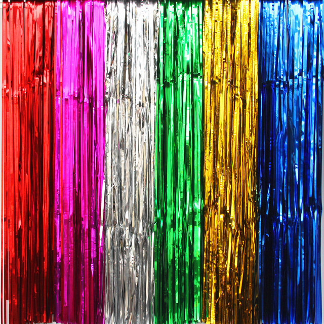 2017 Multicolor Rain Curtain Scene Props Photo Background Wedding Curtains Birthday Party Backdrop Decoration