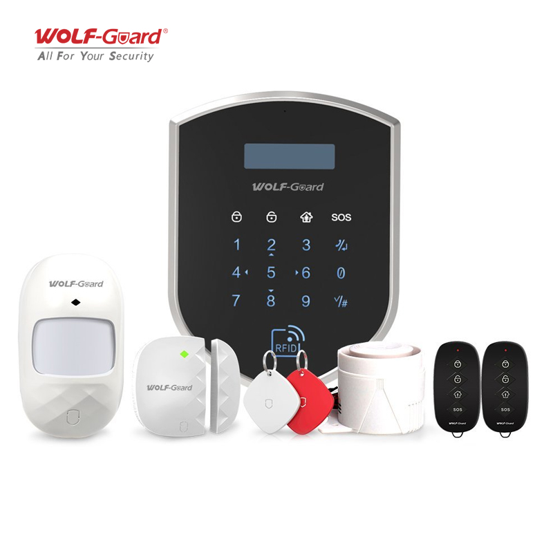Wolf-Guard Smart 3G/GSM 2.4G Wifi Smart DIY Wireless Home Security Burglar Alarm System Door Sensor PIR Motion Detector Keyfobs