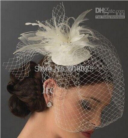 Birdcage Veil Wedding Bridal Veil Feather Beaded Tulle Veil White Ivory In Stock