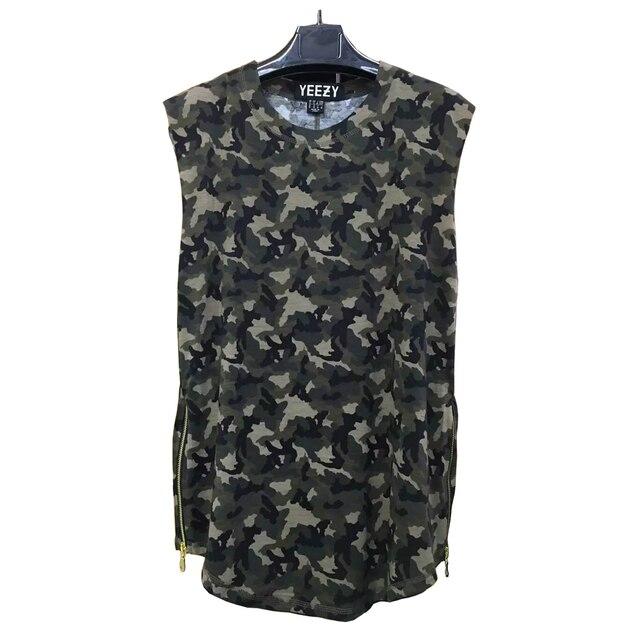 2016 kanye west Yeezy мужчины топы мужчины хип-хоп одежды камуфляж камуфляж yeezy Тур прохладный Стороны молнии жилет одежда