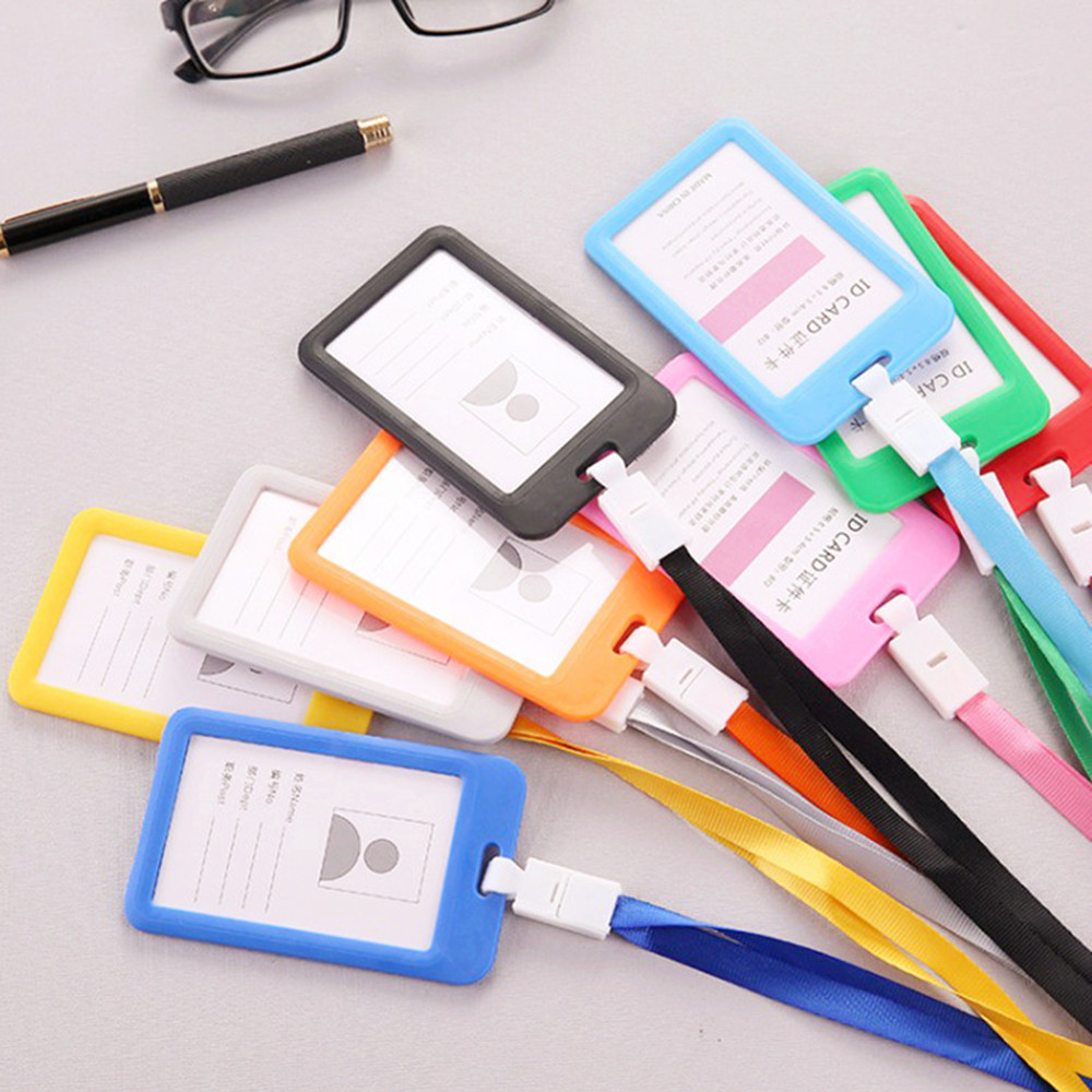 Portable Colorful Employee Plastic ID Card Holder Name Tag Lanyard Neck Strap Business Work Card Badge Holder For Men Women