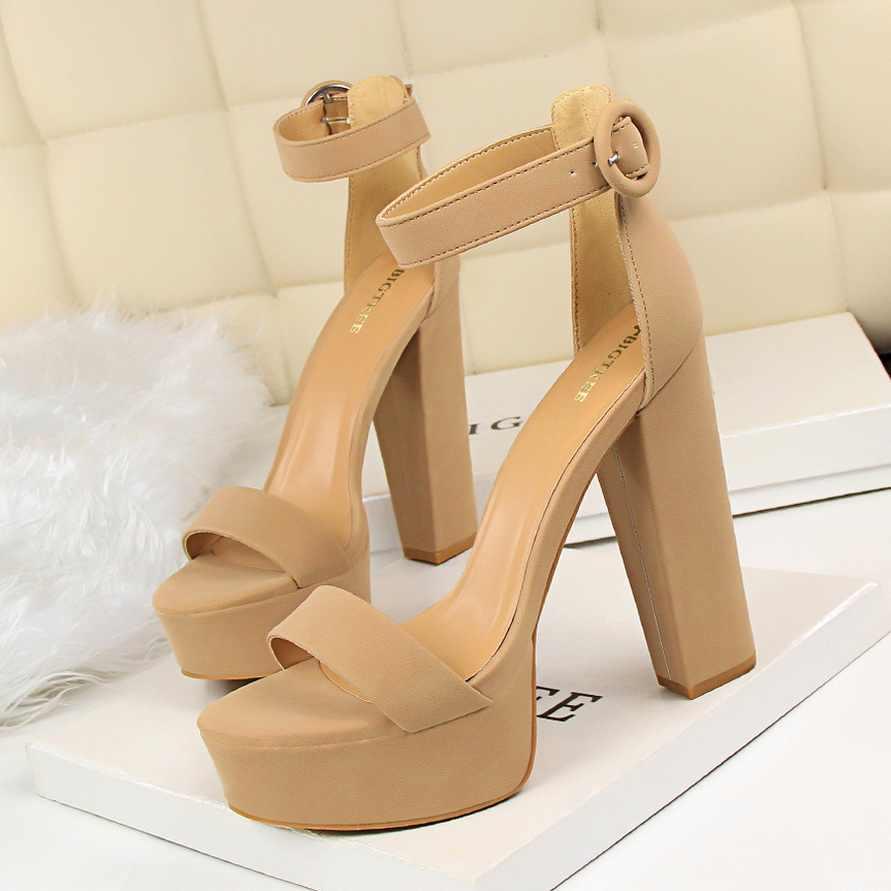 BIGTREE ayakkabı kadın pompaları yüksek topuklu ayakkabı kadın topuklu seksi blok topuklu moda kadın sandalet platformu toka yeni bayan ayakkabıları