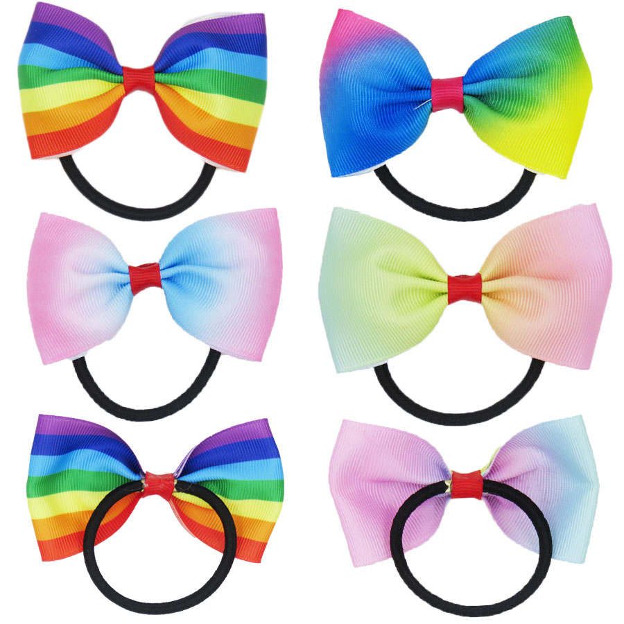 1PCS Novelty Dazzling Rainbow Bow Solid Grosgrain Ribbon Girl Bow Hair Tie Clip Hair Band Bow DIY Hair Accessories Best Gift