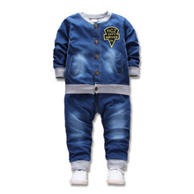 цены на okoufen 2019 new baby boy and girl clothes spring autumn children clothing denim body suit kids jeans clothes set retail  в интернет-магазинах