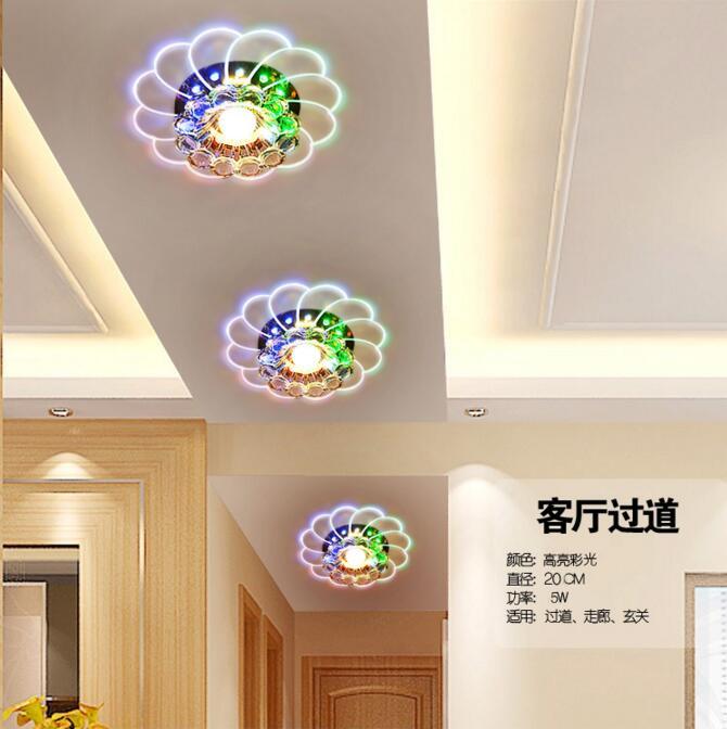 D20cm абажур кристалл светодиодный потолочный светильник 4 Вт/6 Вт спальня встраиваемый потолок круглые светильники светодиодные украшения д...