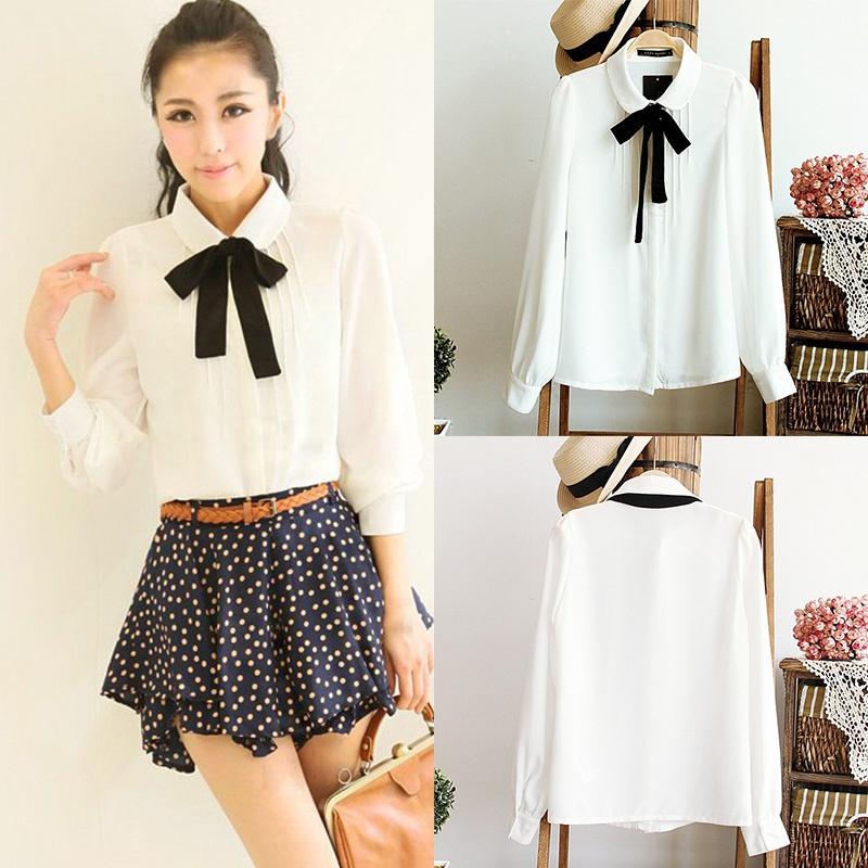 HTB177cdQXXXXXadXpXXq6xXFXXXb - Korean Women Elegant Bow Tie White Blouses Clothing