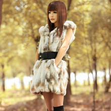 Hot Sale New 2014 Autumn Winter Plus Size Slim Hooded Fur Md-long Vest Coat Free Shipping LY1807