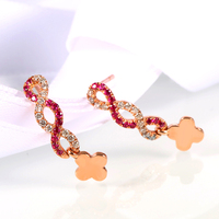 Ruby Stud Earrings For Women 2016 New Arrival 14K Rose Gold Cluster Ruby And Diamond Jewelry