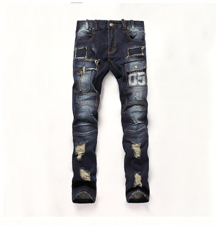 2016 New Mens Camouflage Jeans Motocycle Camo Military Slim Fit Famous Designer  Jeans With Zippers Men  Jeans Men 951