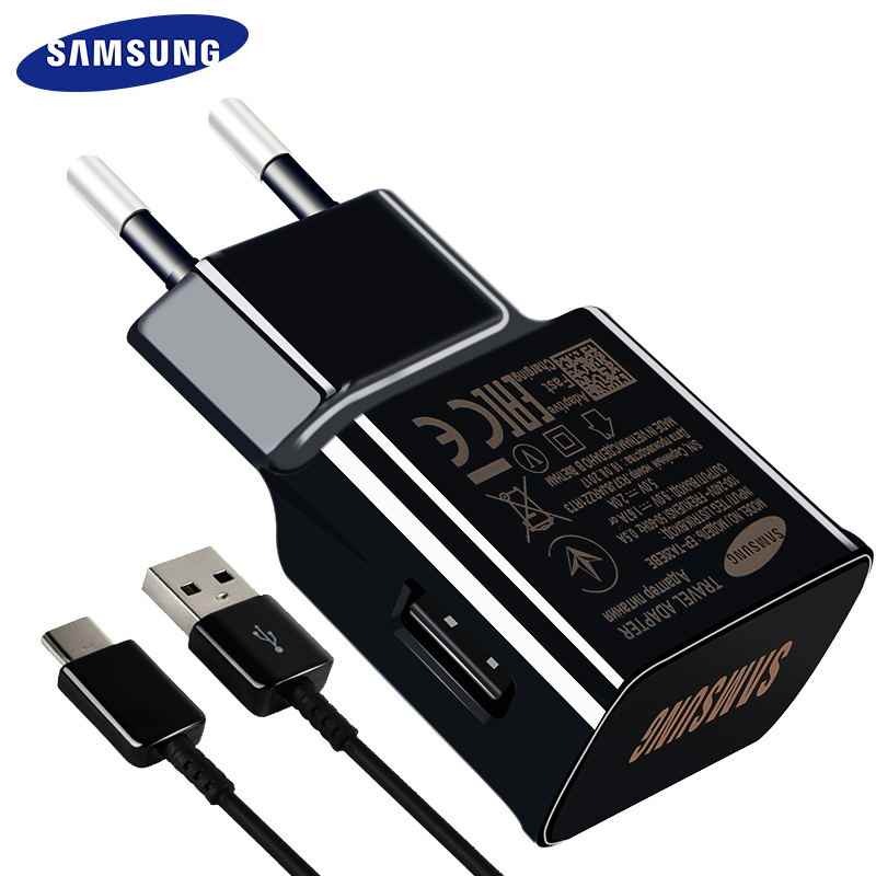 Samsung S8 S9 PLUS Asli Cepat Charger 15W 9V1. 67A 1.2 M USB Tipe C Kabel Travel Adapter EU/US/UK Note8 S 9 S 8 C5 c7 C9pro