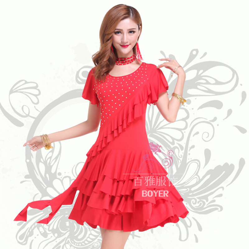 New Women Stage Performance Ballroom Dancing Costumes Latin Female Dance Dress Practice Skirt Dancewear 3 Colors S/M/L/XL/XXL