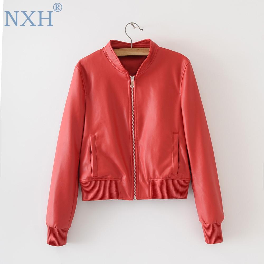 2018 Autumn Winter Women's   leather   clothing pure color PU   leather   jacket slim outwear women bright streetwear coat female