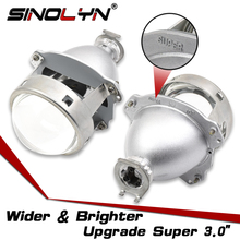 "SINOLYN Super 3.0"" H1 HID Bi xenon Lenses Projector Headlight H1 H4 H7 Headlamps Lens Full Metal Car Styling Automobiles Part"