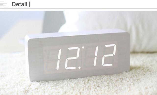 Wekker Met Licht : Rechthoekige digitale houten wekker desktop led temperatuur tijd met