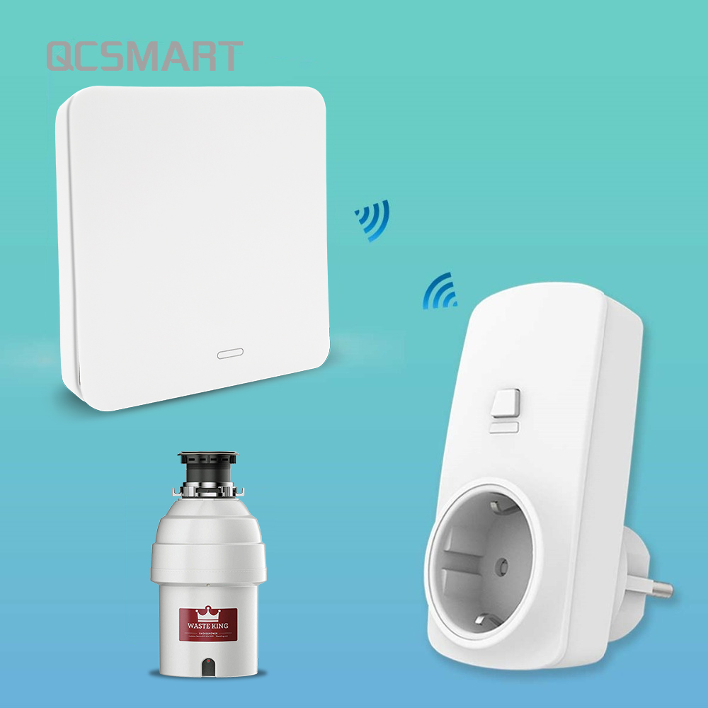 Food Waste Disposers Garbage Disposal Wireless Switch Remote Control EU Plug 16A for 1HP No Drilling No Pipe Replace Air Switch,