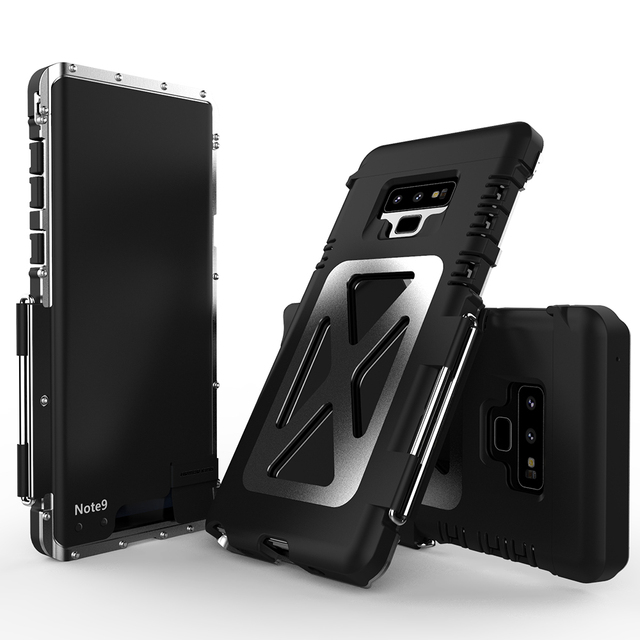 new concept f5c20 e954d US $27.0 10% OFF For Samsung Galaxy Note9 cover Metal Aluminum Armor bumper  protect Case For Note 9 Heavy Duty phone Shockproof flip leather case-in ...