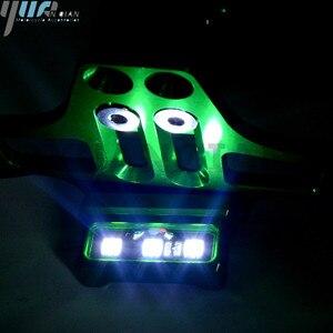Image 2 - Motocicleta CNC con luz LED Marco de placa de matrícula soporte 7/8 mangos para KAWASAKI Ninja ZX ZRX ZZR ER6 636