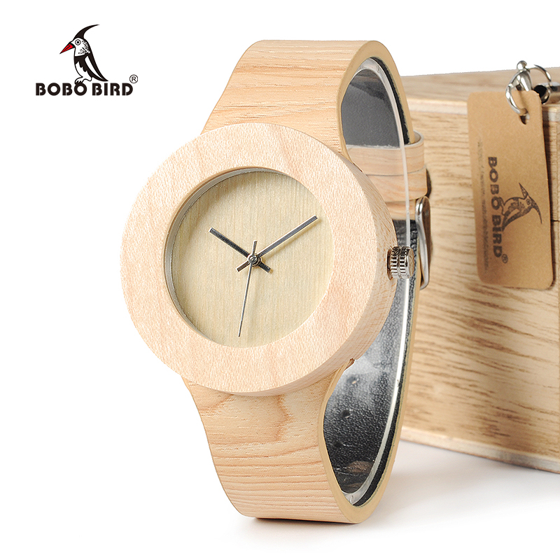 BOBO BIRD WH12 Pine Wooden Watches For Women Men Wood Dial Quartz Watch Soft Leather Grain Straps Relojes Watch Brand Design