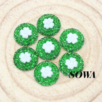 New Design Size 12mm 72pcs/lot Green Color Round Shape Flower Flatback Scrapbooking For Phone/Wedding ABS Resin Beads