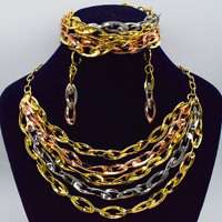 Nigerian Wedding African Beads Jewelry Sets Crystal Fashion Dubai Gold Jewelry Sets For Women Costume Design necklace earrings