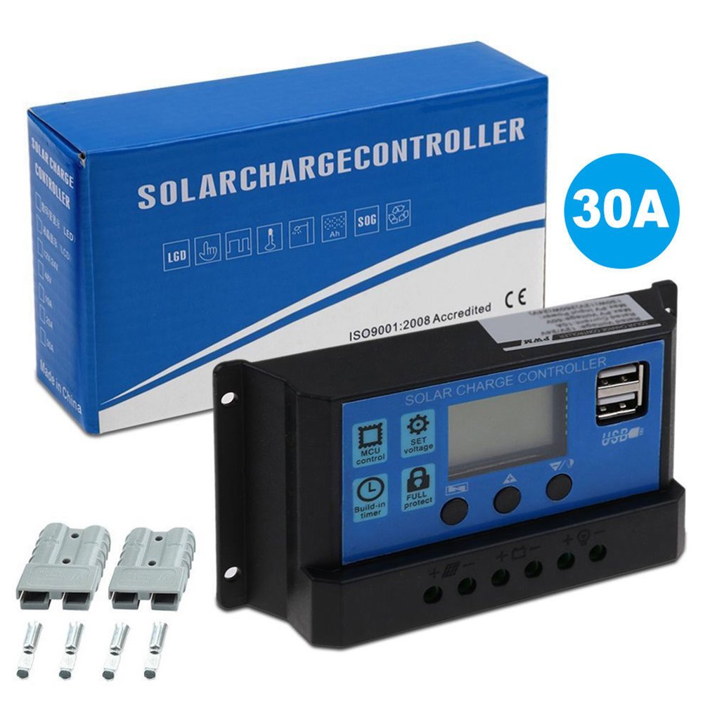 30A PWM Solar Panel Regulator 12V-24V Charge Controller Auto Dual USB Digital Display for Lead Acid Batteries LCD Collector