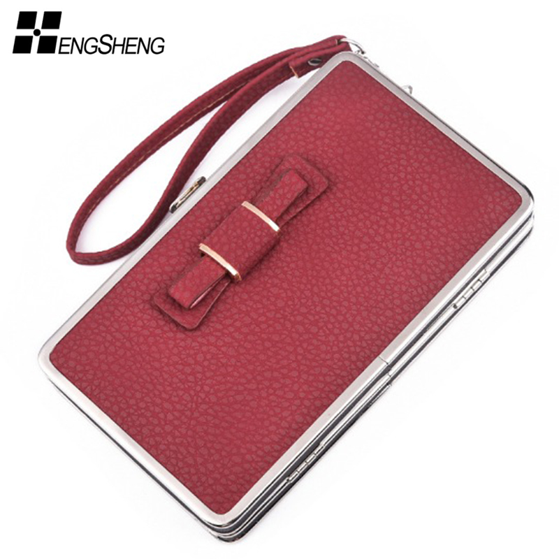 New Vintage Long Brand Women Wallet Clutch Card Phone Bag Ladies Coin Purse Female Wristlet Big Women Wallets and Purses Bow women wallets hello kitty bag purse leather long women s purse coin money bag ladies clutch bag card holder sac bolsas feminina