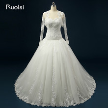 Real Photo Sweetheart Lace Tulle Long Wedding Dresses with Lace Jacket Bridal Wedding Gown with Wraps Vestido de Noiva ASAFN46
