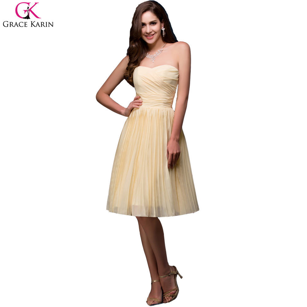 Yellow Strapless Cocktail Dresses 64