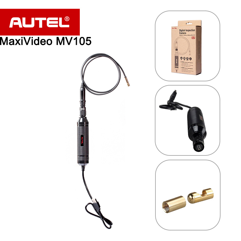 Autel MaxiVideo MV105 Automotive Inspection Camera 5.5 mm Image Head Work with MaxiSys/PC Record image/videos for car diagnostic for autel ds708 connect main test cable and ds708 connector 16pin obd2 adapter for autel maxidas ds708 automotive diagnostic