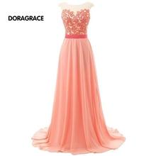 robe de soiree Glamorous Floor-Length A Line Applique Chiffon Long Evening Dresses Prom Gowns DGE032
