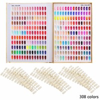 1pc Professional 308 216 120 Colors Golden Nail Gel Polish Display Card Book Chart With Tips