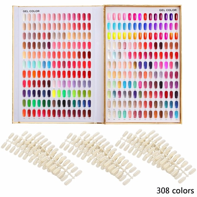 Makartt 308 Colors Golden Nail Gel Polish Display Chart with Tips ...