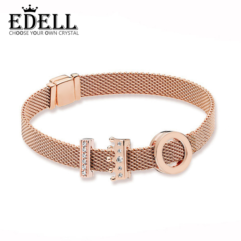 EDELL 100% 925 Sterling Silver New Rose Reflexions Crown Clip Charm Timeless Clip Charm Floating Heart Clip Charm Bracelet Set