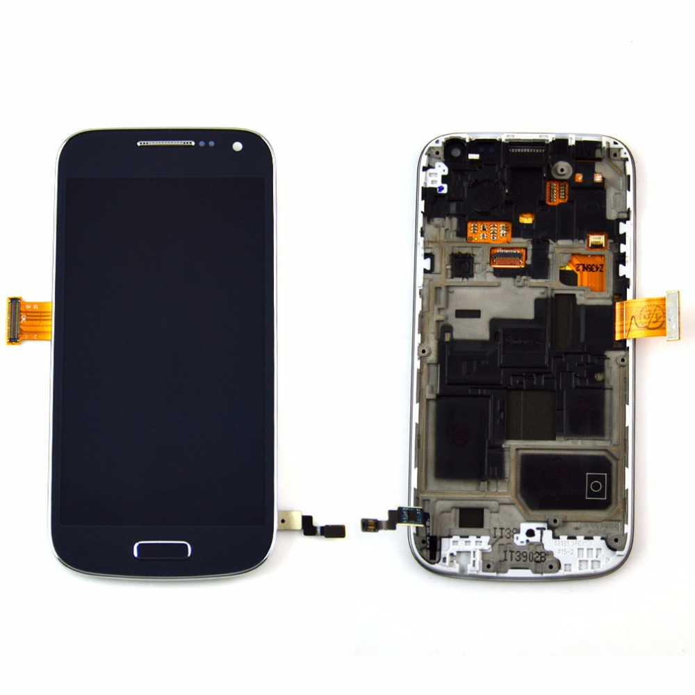 White Blue Replacement LCD For Samsung Galaxy S4 mini I9190 i9192 i9195 LCD Display Touch Screen + Frame Assembly