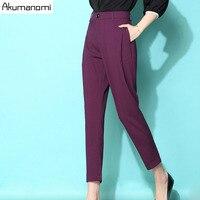 Printemps Cheville-Longueur Harem Pantalon Automne Femmes Pantalon Panty Plus La Taille Noir Violet Blanc Insérer Poche Zipper Fly 5XL 4XL 3XL