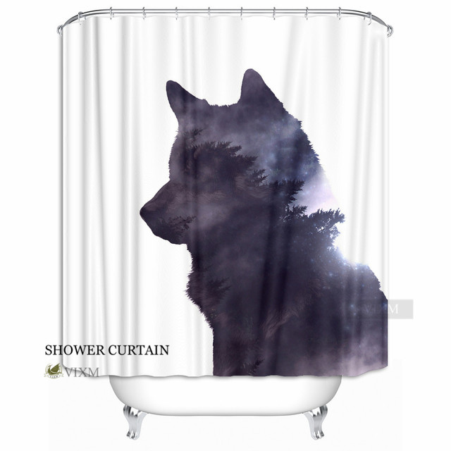 Vixm Home The Wolf S Forest Fabric Shower Curtain Cry Into Air Bath Curtains For Bathroom